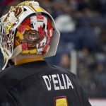 Arizona State Sun Devils goaltender pays tribute to his Ontario heritage with a rather kickass paint job on the back of his mask. Photo by Jason Kurylo for Pucked in the Head.