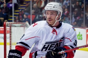 Abbotsford Heat forward Ben Street had a goal and his stache had an assist in a 5-1 thrashing of the Hamilton Bulldogs on the last day of Movember. Photo by Jason Kurylo for Pucked in the Head.