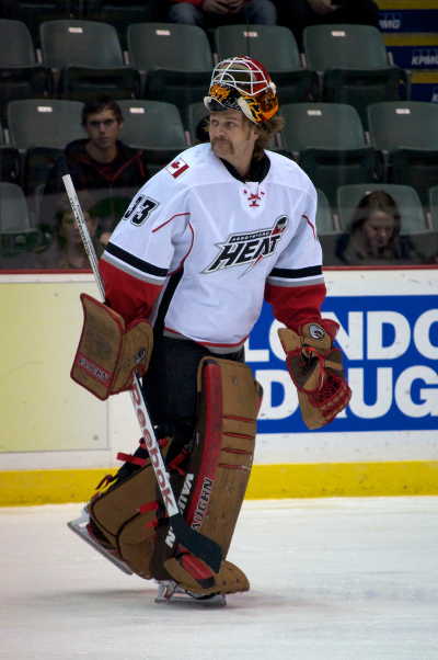 Abbotsford Heat goaltender Barry Brust has played his pads off this season, much of it against NHL-calibre players. For contractual reasons, the Calgary Flames are not giving him the look he deserves. Photo by Jason Kurylo for Pucked in the Head.