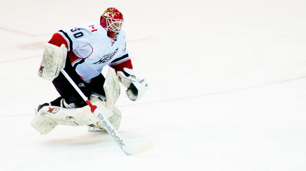 Goaltender Danny Taylor is one of two Abbotsford Heat players to sign with Swedish Elite League teams this week. Photo by Jason Kurylo for Pucked in the Head.