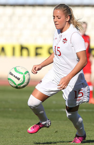 Team Canada forward Adriana Leon pushes upfield during international friendly action. Photo courtesy of Soccer Canada.