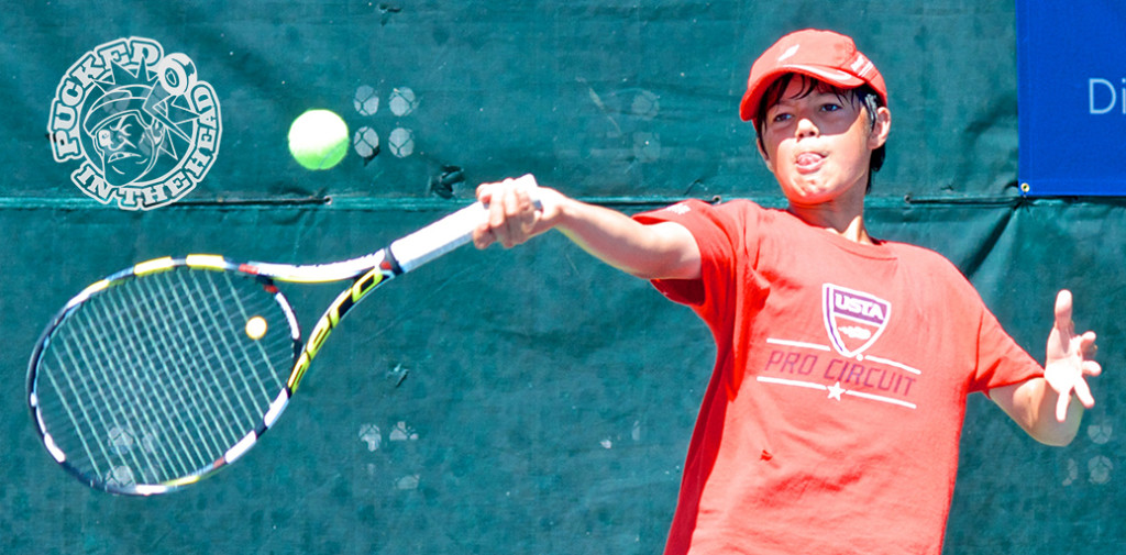 This ballboy took advantage of some open courts on the final day of the 2014 Vancouver Open tennis tournament. Photo by Jason Kurylo for Pucked in the Head.