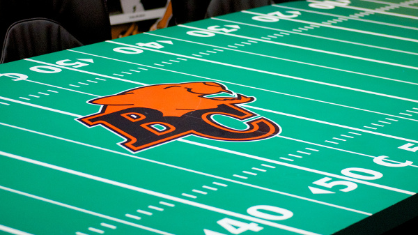 The BC Lions War Room sports one helluva conference table. Photo by Jason Kurylo for Pucked in the Head.