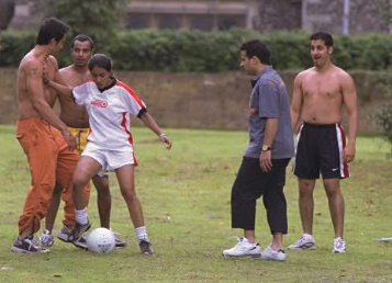 Re-enacting pretty much every sporting moment from every young girls' life, it's Parminder Nagra against a gang of yob dudes in Bend It Like Beckham.