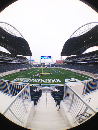 A fish eye view of the brand spanking new Investors Field in Winnipeg. Photo by Jim Chliboyko.