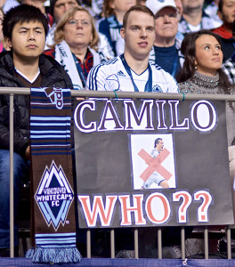 How Whitecaps fans spent the 2014 season: openly hating the man, but equally desperate to see some consistent goal-scoring. Photo by Jason Kurylo for Pucked in the Head.