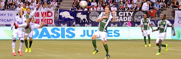 Camilo scored on a spectacular side scissor kick to pull Vancouver Whitecaps FC even with the Portland Timbers in MLS action October 9, 2013. Photo by Jason Kurylo for Pucked in the Head.