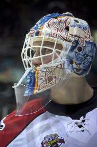 Laurent Brassoit with his mask from his stint with the Edmonton Oil Kings. Brassoit was perfect in Game 5 of the Russia-CHL Super Series, taking a 1-0 shootout win over the Russian Stars. Photo by Jason Kurylo for Pucked in the Head.