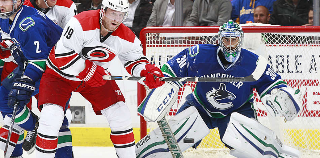 Jiri Tlusty (19) was the only Hurricane to beat Ryan Miller on this night. Photo stolen from canucks.com