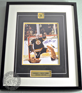 """My most prized bit of sports decor: a framed 8x10 of Hall of Fame goaltender Gerald Michael """"Cheesey"""" Cheevers. Photo by Jason Kurylo for Pucked in the Head."""
