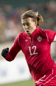 Team Canada striker Christine Sinclair closes in on yet another scoring opportunity during an international friendly against South Korea. Photo courtesy of Soccer Canada.
