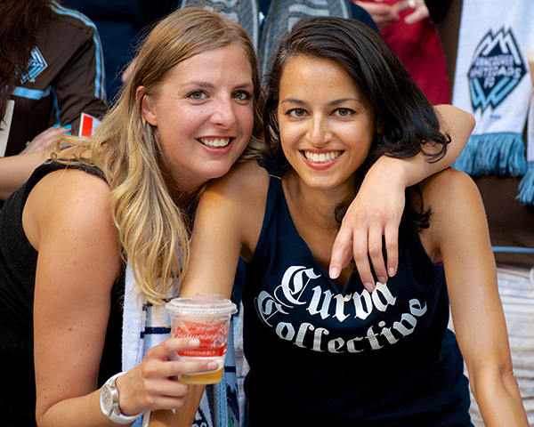 Two Curva Collective supporters group members beam with joy as their Vancouver Whitecaps FC defeat the San Jose Earthquakes 2-nil at BC Place. Photo by Jason Kurylo for Pucked in the Head.