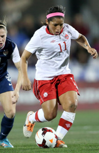 Team Canada midfielder Desiree Scott steals the ball during international friendly action against the USA. Photo courtesy of Soccer Canada.