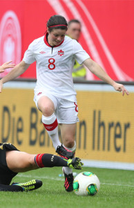 Team Canada midfielder Diana Matheson scoots along the flank during international friendly action against Germany. Photo courtesy of Soccer Canada.