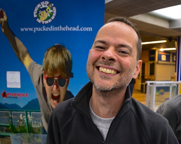 Rob Tarzwell celebrates his new addiction to setting world records in obscure Canadian pastimes. Photo by Clint Trahan for Pucked in the Head.