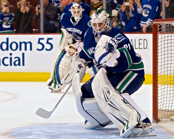 Eddie Lack may be giving himself the evil eye in the mirror this morning, but chances are new Canucks backup goaltender Jacob Markstrom is eyeing him and his crease even more closely. Photo by Jason Kurylo for Pucked in the Head.