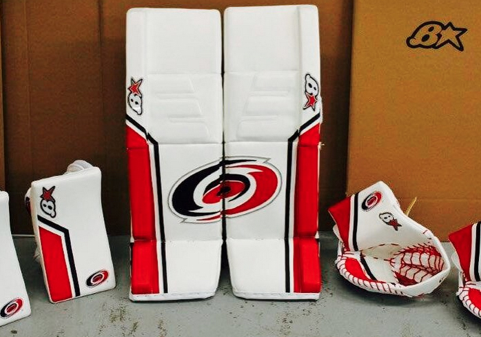 Eddie Lack introduced his new Carolina Hurricanes pads via Twitter and Instagram.