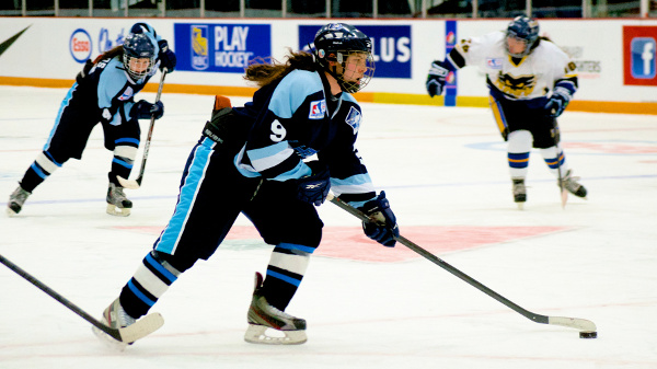 Frederique Maringer readies a wrist shot during the 2013 Esso Cup. Québec Nord took the gold medal with a 5-2 win in the final game. Photo by Jason Kurylo for Pucked in the Head.
