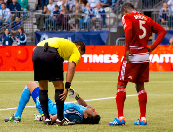 Less than five minutes into the MLS match at BC Place, and the crowd was treated to the first of many instances of Dallasing. Photo by Jason Kurylo for Pucked in the Head.
