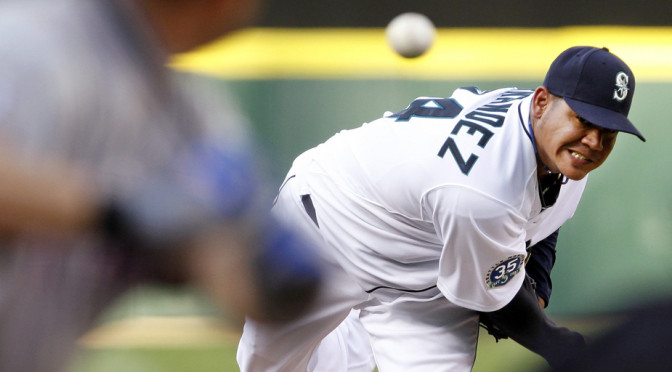 King Felix was edged out by Corey Kluber for the American League Cy Young Award, but his performance in 2014 was nothing short of electric. (AP Photo/Elaine Thompson nicked from oregonlive.com.)