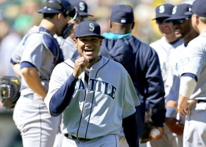 Felix Hernandez walks off the mound after tossing 11 strikeouts in his first start of the 2014 season. Photo ripped unceremoniously from the interweb.