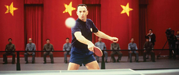 Don't like football or distance running? That's all right — ol' Forrest plays a mean game of table tennis, too.