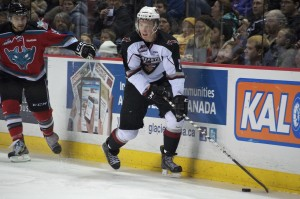 Vancouver Giants defenseman Brett Kulak had an assist in a losing cause as his team dropped a 5-3 decision to the visiting Kelowna Rockets on December 28, 2012. Photo by Jason Kurylo for Pucked in the Head.