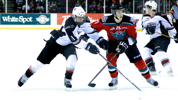 Fifteen-year-old forward Jakob Stukel wears the full face shield against the Kelowna Rockets during one of his six trial games with the Vancouver Giants. Photo by Jason Kurylo for Pucked in the Head.