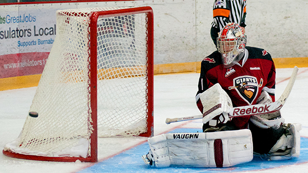 Vancouver Giants goaltender Payton Lee made 28 saves, including this shoulder stop on Edson Harlacher, en route to a 5-1 pre-season win over the visiting Kamloops Blazers. Photo by Jason Kurylo for Pucked in the Head.