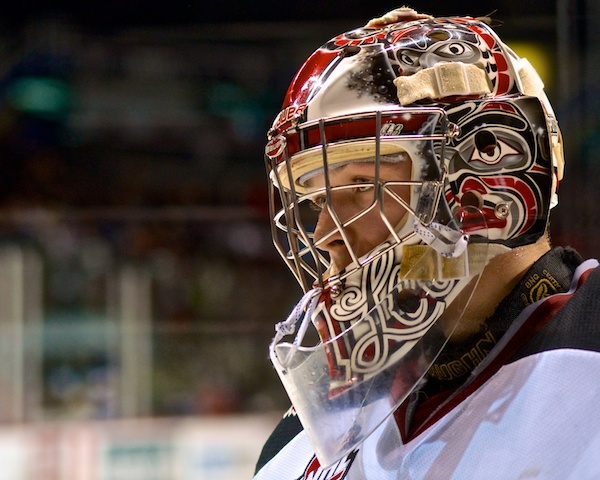 Payton Lee stopped 18 shots for his ____ career WHL shutout as the Vancouver Giants spanked the Lethbridge Hurricanes 10–0 at the Pacific Coliseum. Photo by Jason Kurylo for Pucked in the Head.