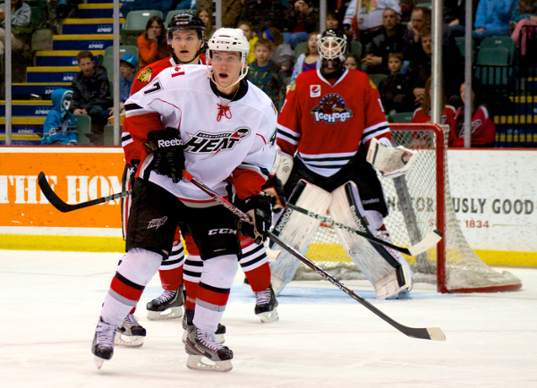 Abbotsford Heat forward Sven Bärtschi was dangerous, but ultimately failed to score in a 5-2 loss to the Rockford Ice Hogs. Photo by Jason Kurylo for Pucked in the Head.