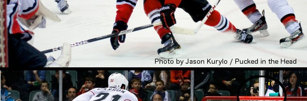 Just a bit of proof that I do indeed take my own pictures. My shot of Brad Mills drawing a penalty shot during the second period against the Abbotsford Heat, and pro photog Clint Trahan's shot of me... er, of Mills drawing the penalty shot.