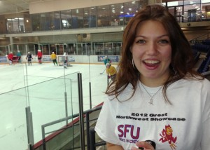She's from Hawaii, so Jenessa Gladstone can be forgiven for being a basketball fan first. Now that she's in Canada, she's trying to get a grasp on this game called hockey, and was thrilled to win an SFU Clan t-shirt from Pucked in the Head. Check out her video below!