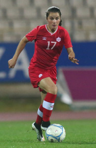 Team Canada midfielder Jessie Fleming during international friendly action against England earlier in 2015. Photo courtesy of Soccer Canada.