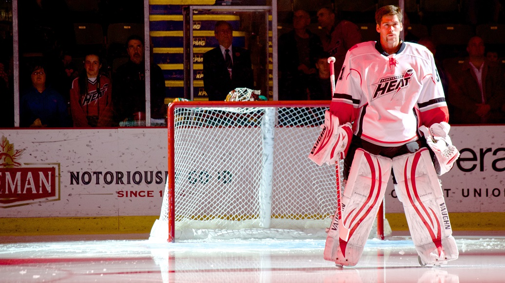Joni Ortio, recently named to the 2013-14 AHL All-Rookie Team, backstops the Abbotsford Heat as the rev up for post-season play. Photo by Jason Kurylo for Pucked in the Head.