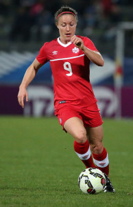 Team Canada forward Josée Bélanger moves the ball upfield during an international friendly. Photo courtesy of Soccer Canada.