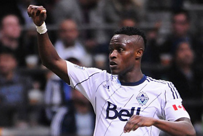 Vancouver Whitecaps FC midfielder Gershon Koffie scored the season's opening goal on Saturday, helping the home side to a 1-0 defeat of Toronto FC. Photo borrowed from www.whitecapsfc.com