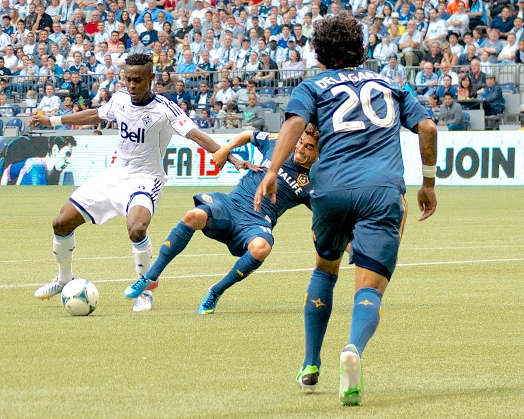 Gershon Koffie assisted on two Whitecaps FC goals in their only defeat of the LA Galaxy: a 3-1 win last season at BC Place. Photo by Jason Kurylo for Pucked in the Head.