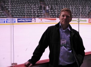 I haven't been out shooting recently, so this is all you get: my ugly mug post-game next to the Abbotsford Heat ice surface. Photo by Kenkoy for Pucked in the Head.