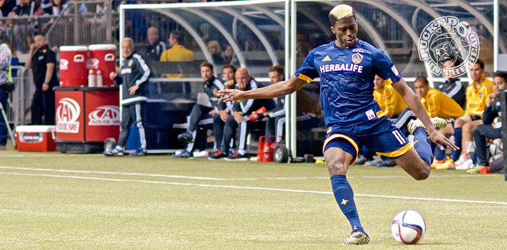 Gyasi Zardes of the LA Galaxy crosses the ball during MLS action at BC Place.