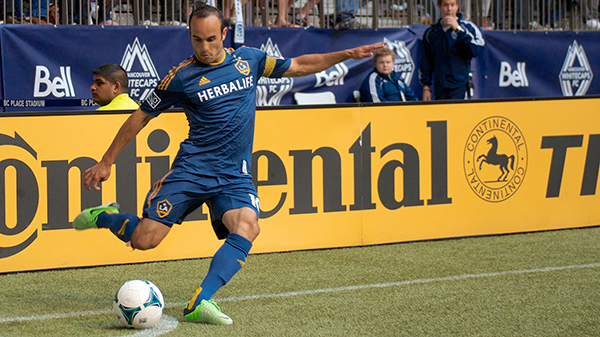 LA Galaxy forward Landon Donovan takes a corner kick during a 1-0 victory over Vancouver Whitecaps FC at BC Place. Photo by Jason Kurylo for Pucked in the Head.