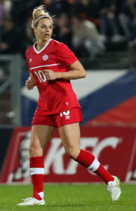 Team Canada defender Lauren Sesselmann keeps position during an international friendly against France. Photo courtesy of Soccer Canada.