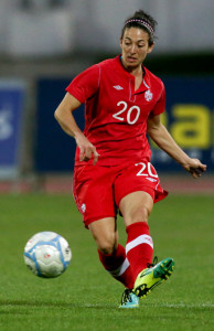 Team Canada defender Marie-Eve Nault pushes the ball upfield during international friendly action against Italy. Photo courtesy of Soccer Canada.