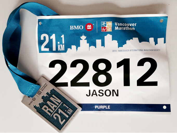 The Vancouver Half finisher's medal is simple, straightforward, and... well, kinda square. IPhone Photo by Jason Kurylo for Pucked in the Head.