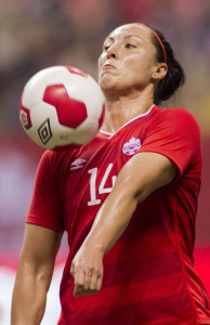 Canadian forward Melissa Tancredi chests down a forward ball during an international friendly against Japan. Photo courtesy of Soccer Canada.