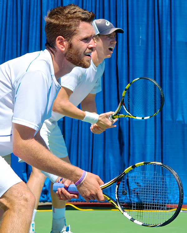 Austin Krajicek (left) and John-Patrick Smith won the men's doubles trophy over Marcus Daniell and Artem Sitak, 6-3, 4-6, 10-8. Photo by Jason Kurylo for Pucked in the Head.