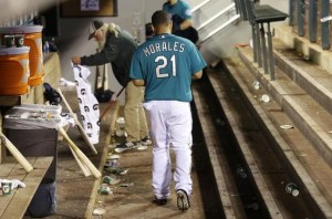 Morales in the dugout - not exactly burning down the house so far, unfortunately.