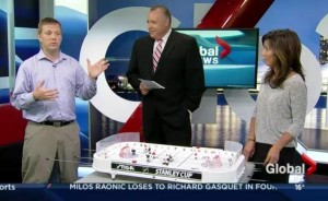 Jason Kurylo appears on the Global Morning News with Steve Darling and Sophie Lui to promote the Vancouver Table Hockey Extravaganza. Image courtesy of Global BC.