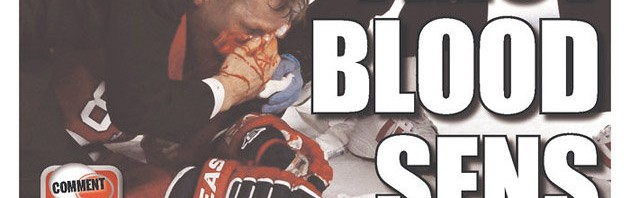 After game one of the Senators-Canadiens series, the front page of the Ottawa Sun featured a goretastic image of Lars Eller leaking blood all over ice at the Montreal Forum. We at Pucked in the Head would be shocked if this weren't one of the few newspapers that still publishes Sunshine Girl pics on a regular basis.