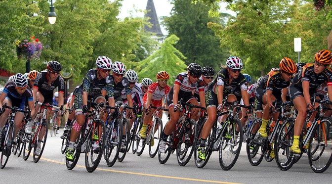 The peloton negotiates a bend in the road during Sunday's Tour de Delta. Photo by Greg Descantes for BC Superweek.